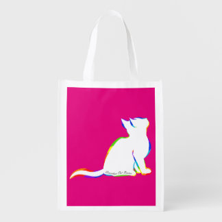 Rainbow cat, white fill, inside text reusable grocery bag