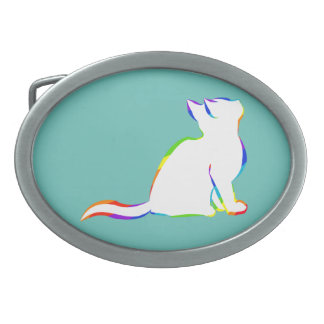 Rainbow cat, white fill oval belt buckle