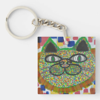 Rainbow Cat With Lion's Mane Art On A Keychain