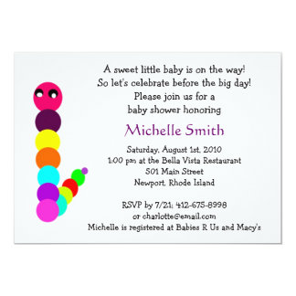 rainbow caterpillar; baby shower 5x7 paper invitation card