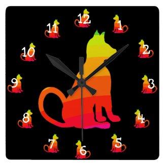 Rainbow Cats Pop Art Cat Lovers CricketDiane Square Wall Clock