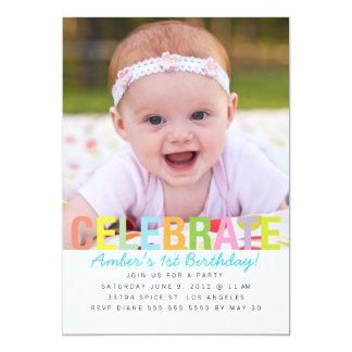 Rainbow Celebrate Birthday Party Invite
