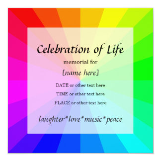 Rainbow Celebration of Life Memorial Invitation