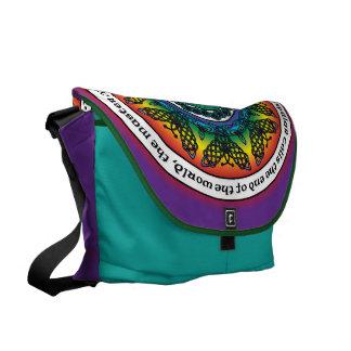 Rainbow Celtic Butterfly Mandala Courier Bag