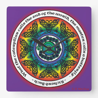 Rainbow Celtic Butterfly Mandala Square Wall Clock