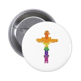 Rainbow Celtic Cross Pinback Button