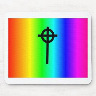 Rainbow Celtic cross gear Mouse Pad