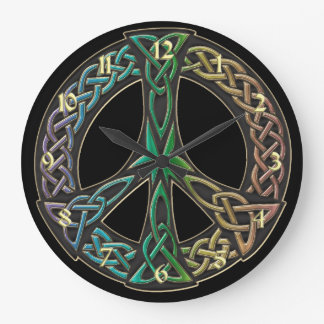 Rainbow Celtic Knot Peace Sign Clock
