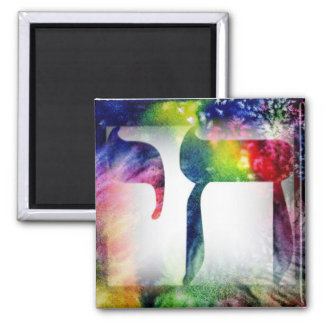 """Rainbow """"Chai"""" Life in Hebrew 2 Inch Square Magnet"""