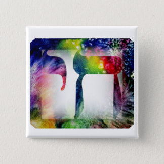 "Rainbow ""Chai"" Life in Hebrew Pinback Button"