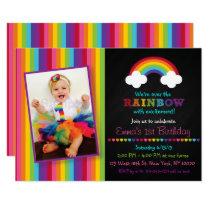 Rainbow Chalkboard 1st Birthday Card