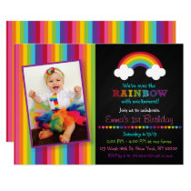 Rainbow Chalkboard 1st Birthday Invitation