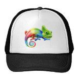 Rainbow chameleon trucker hats