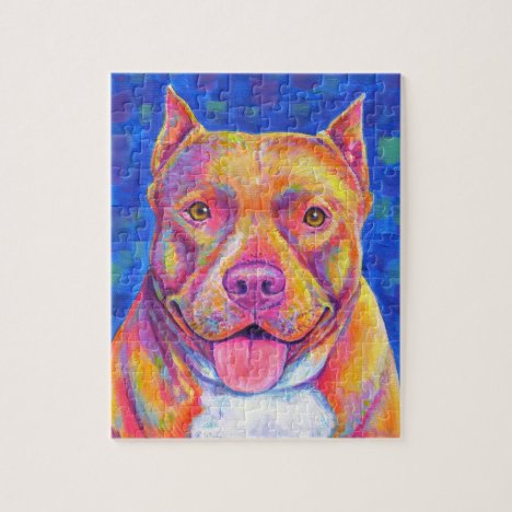 Rainbow Champagne Pitbull Terrier Dog Puzzle