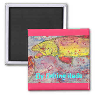 rainbow chasing fly 2 inch square magnet