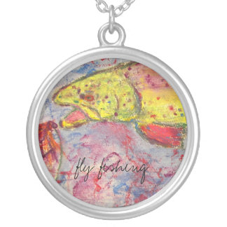 rainbow chasing fly design round pendant necklace