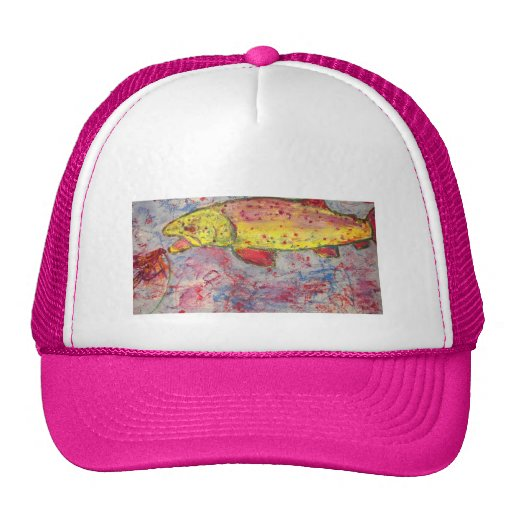 rainbow chasing fly trucker hat