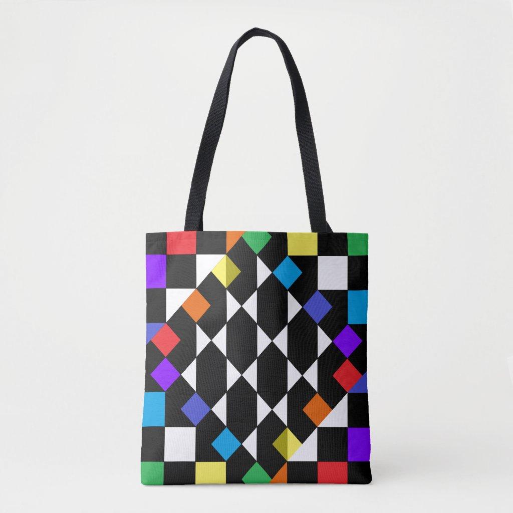Rainbow Checkerboard Fashion Beach Picnic Totes