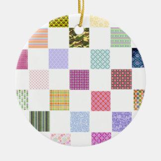 Rainbow Checkerboard pattern Ceramic Ornament