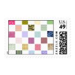 Rainbow Checkerboard pattern Postage