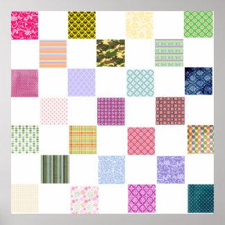 Rainbow Checkerboard pattern Poster