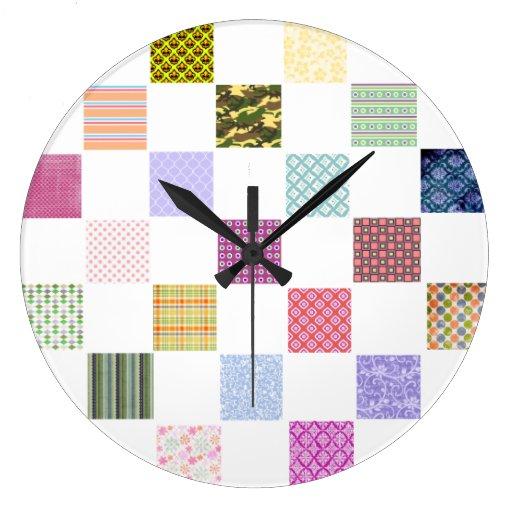 Rainbow Checkerboard pattern Round Wall Clocks