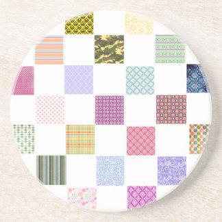 Rainbow Checkerboard pattern Sandstone Coaster