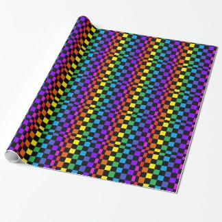 Rainbow Checkerboard Vibrant Retro Wrapping Paper