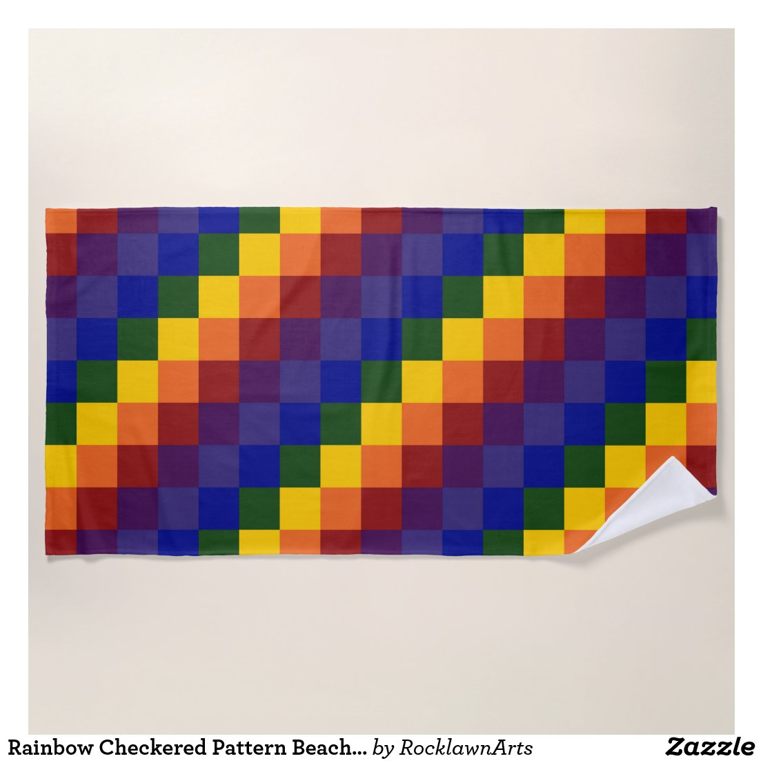 Rainbow Checkered Pattern Beach Towel