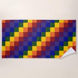 Rainbow Checkered Pattern Beach Towel
