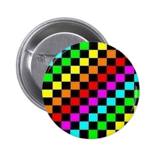 rainbow checkers pinback button