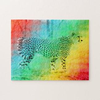 Rainbow Cheetah Jigsaw Puzzle
