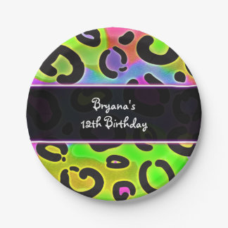 Rainbow Cheetah Leopard Birthday Party Plates