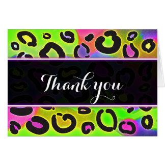 Rainbow Cheetah Leopard Birthday Thank You Card