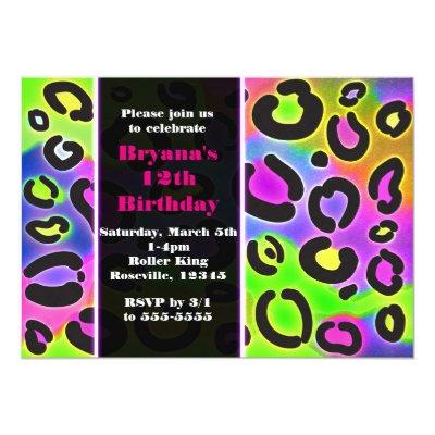 neon animal print colorful zebra leopard party invitation zazzle com