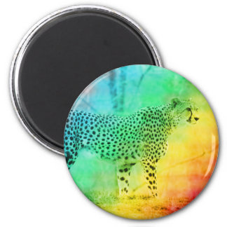 Rainbow Cheetah Magnet