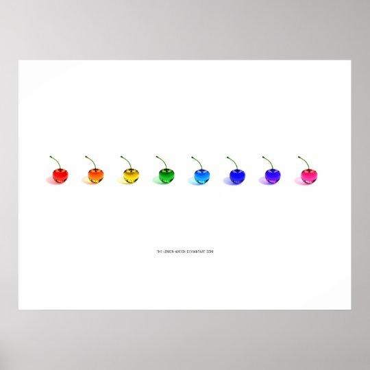Rainbow Cherries Poster