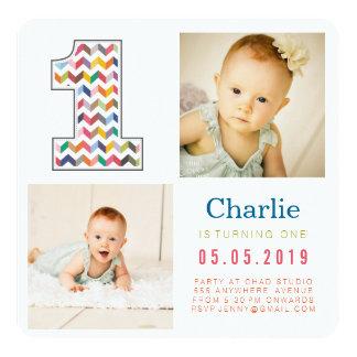 "Rainbow Chevron 1st Birthday Photo Cards 5.25"" Square Invitation Card"