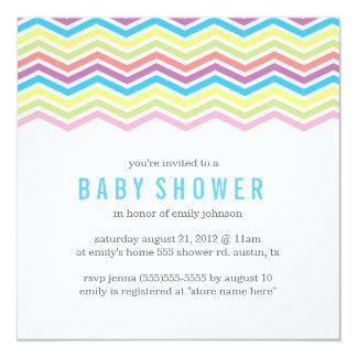 Rainbow Chevron Baby Shower Invite