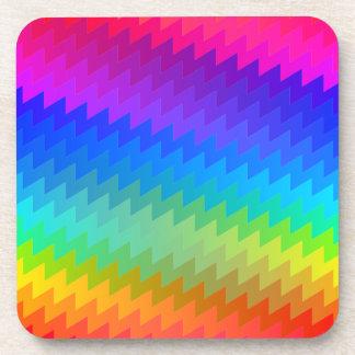 Rainbow chevron beverage coaster