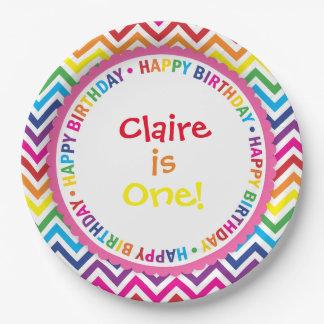 Rainbow Chevron Birthday Party Plates, Bright Paper Plate