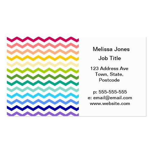 Rainbow chevron business card templates