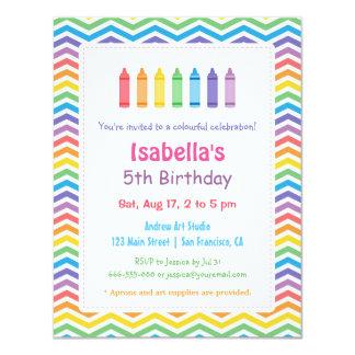 Rainbow Chevron Crayons Arts Kids Birthday Party 4.25x5.5 Paper Invitation Card