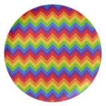 Rainbow Chevron Dinner Plate