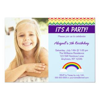 Rainbow Chevron Girl Photo Birthday Party Card
