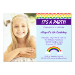 Rainbow Chevron Girl Photo Birthday Party Personalized Invites