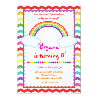Rainbow Chevron Girls Birthday Party Invitation