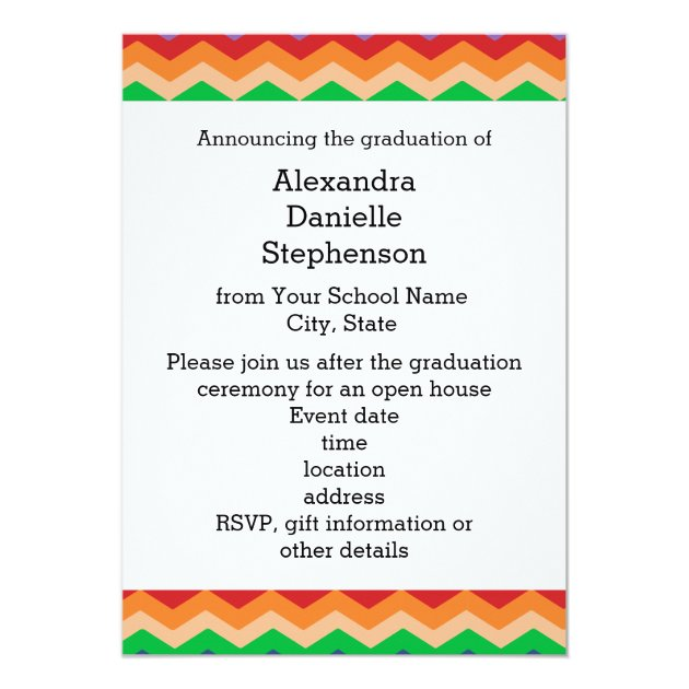 Rainbow Chevron Kid's Photo Graduation Preschool/K 5x7 Paper Invitation Card (back side)