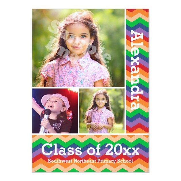 Rainbow Chevron Kid's Photo Graduation Preschool/K 5x7 Paper Invitation Card