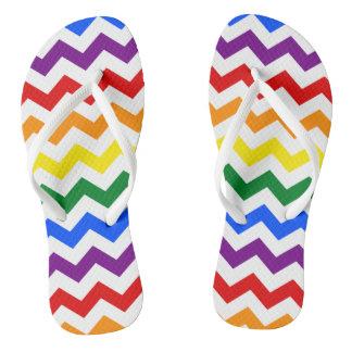 Rainbow Chevron Pattern Colorful Simple Design Art Flip Flops